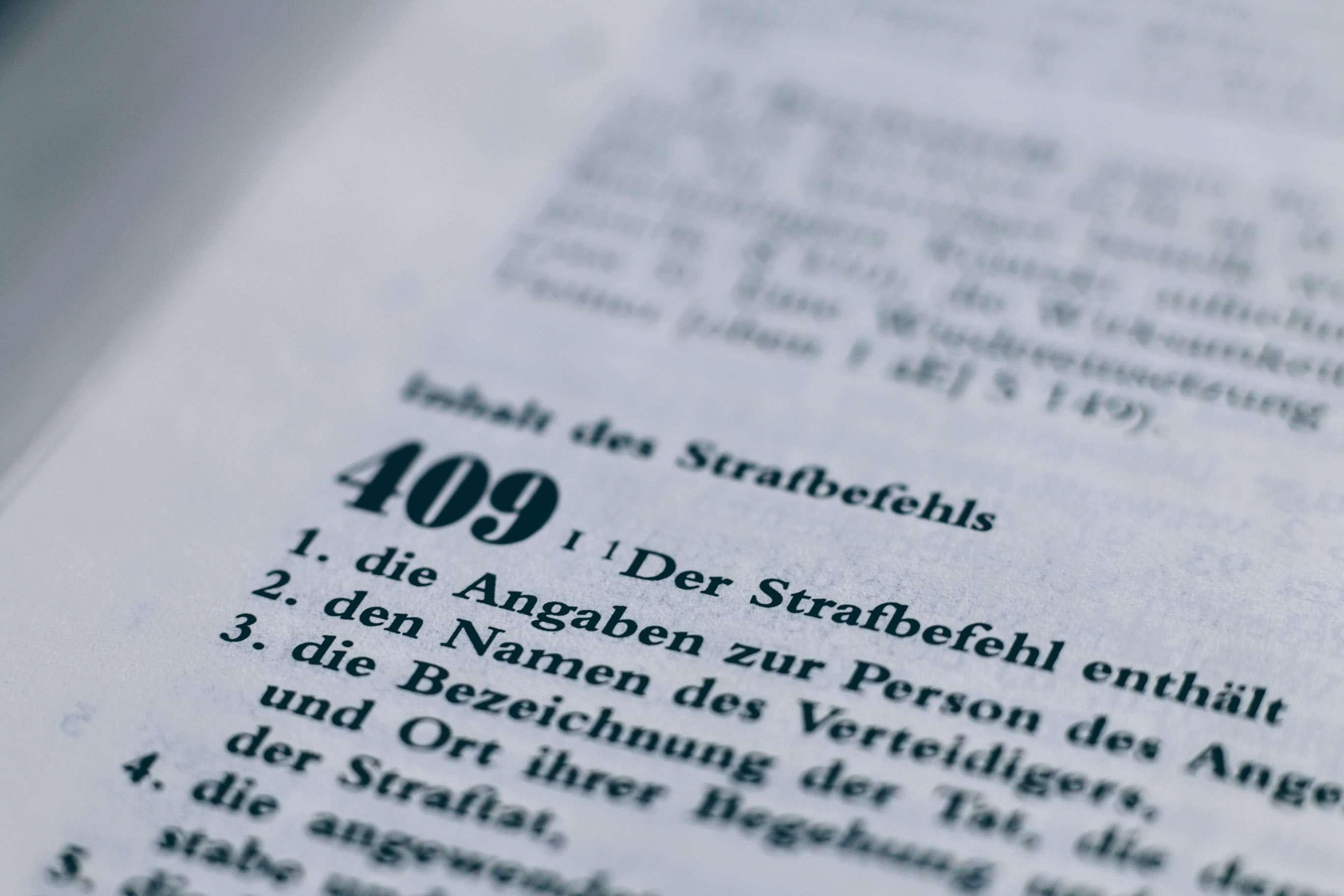 Strafbefehl gem. § 409 StPO ohne Verhandlung